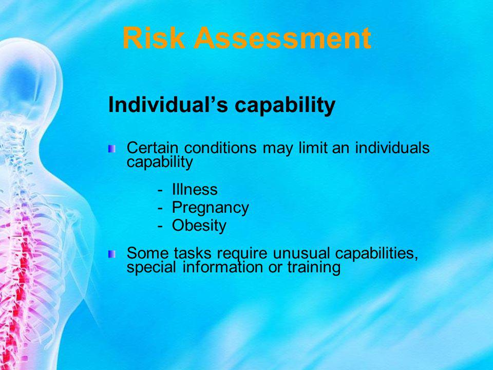 Risk Assessment Individual's capability