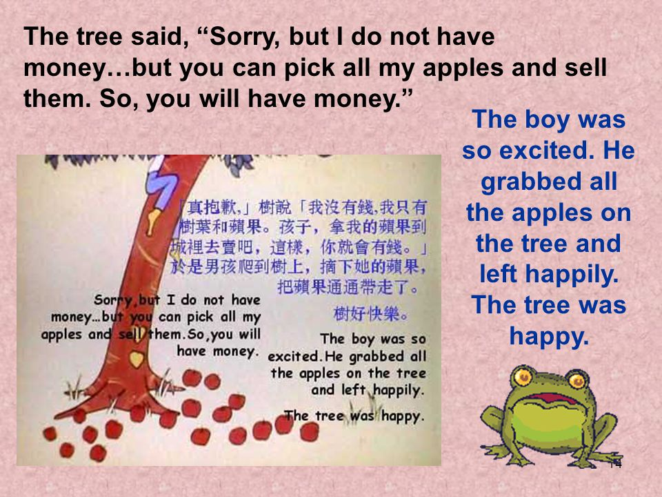 The tree said, Sorry, but I do not have money…but you can pick all my apples and sell them. So, you will have money.