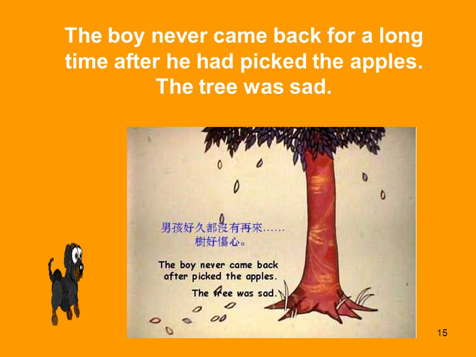 The boy never came back for a long time after he had picked the apples