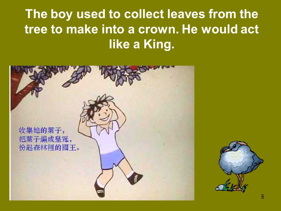 The boy used to collect leaves from the tree to make into a crown