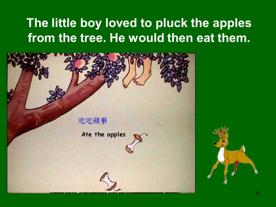 The little boy loved to pluck the apples from the tree