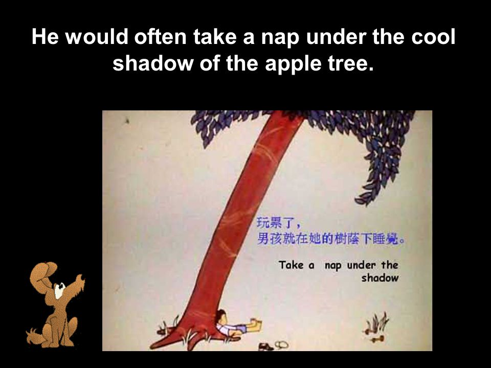 He would often take a nap under the cool shadow of the apple tree.