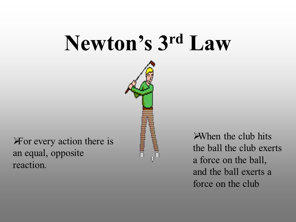 Newton's 3rd Law When the club hits the ball the club exerts a force on the ball, and the ball exerts a force on the club.