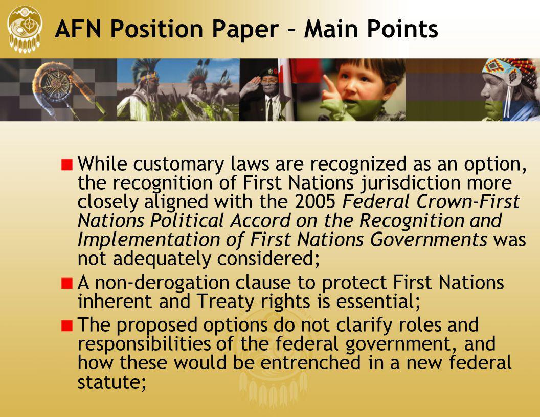 AFN Position Paper – Main Points