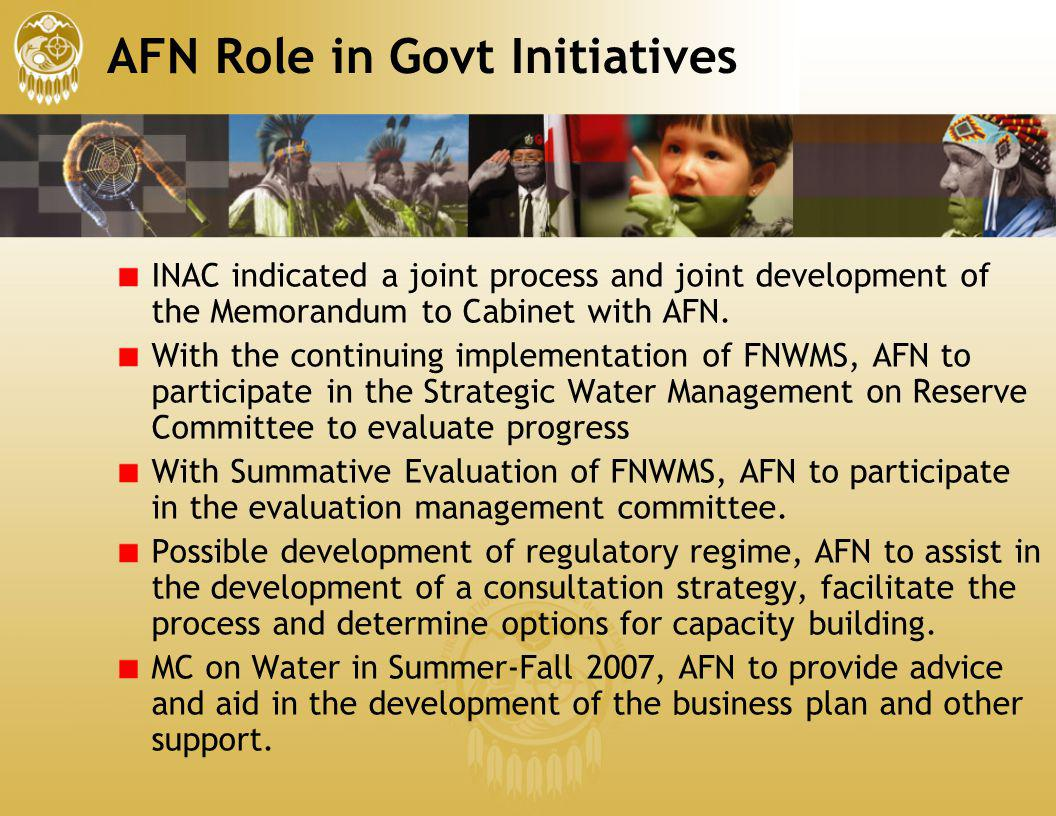 AFN Role in Govt Initiatives