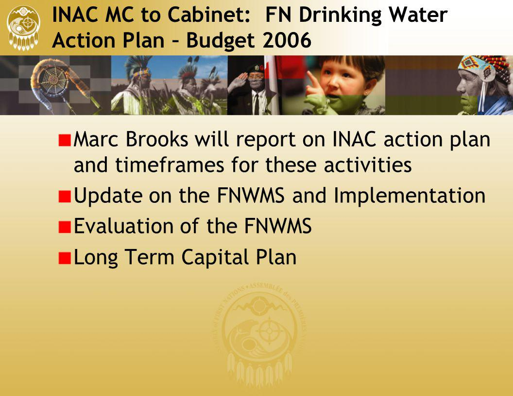 INAC MC to Cabinet: FN Drinking Water Action Plan – Budget 2006