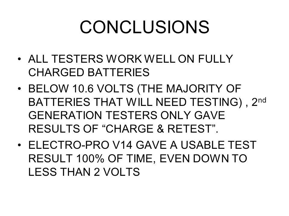 CONCLUSIONS ALL TESTERS WORK WELL ON FULLY CHARGED BATTERIES