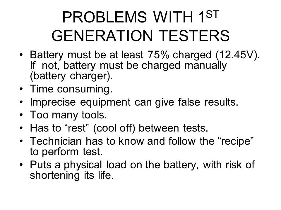 PROBLEMS WITH 1ST GENERATION TESTERS