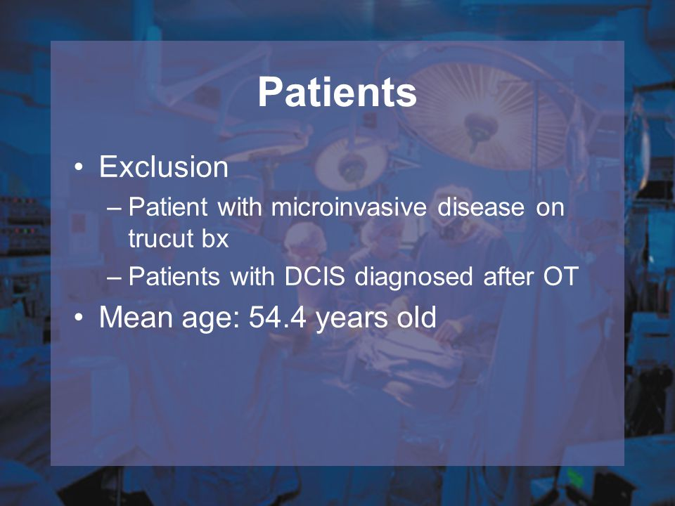 Patients Exclusion Mean age: 54.4 years old