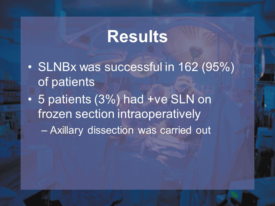 Results SLNBx was successful in 162 (95%) of patients