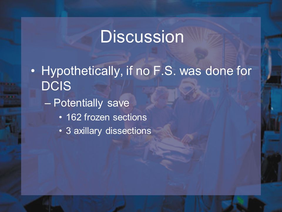 Discussion Hypothetically, if no F.S. was done for DCIS
