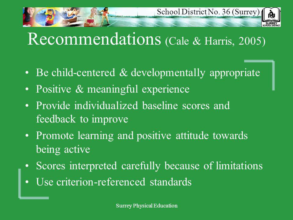 Recommendations (Cale & Harris, 2005)