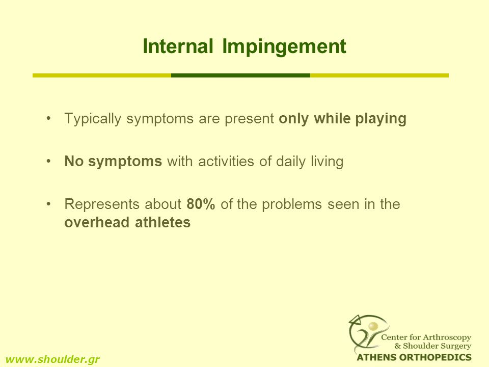 Internal Impingement Typically symptoms are present only while playing