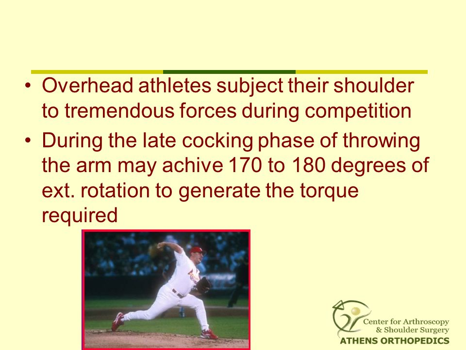 Overhead athletes subject their shoulder to tremendous forces during competition