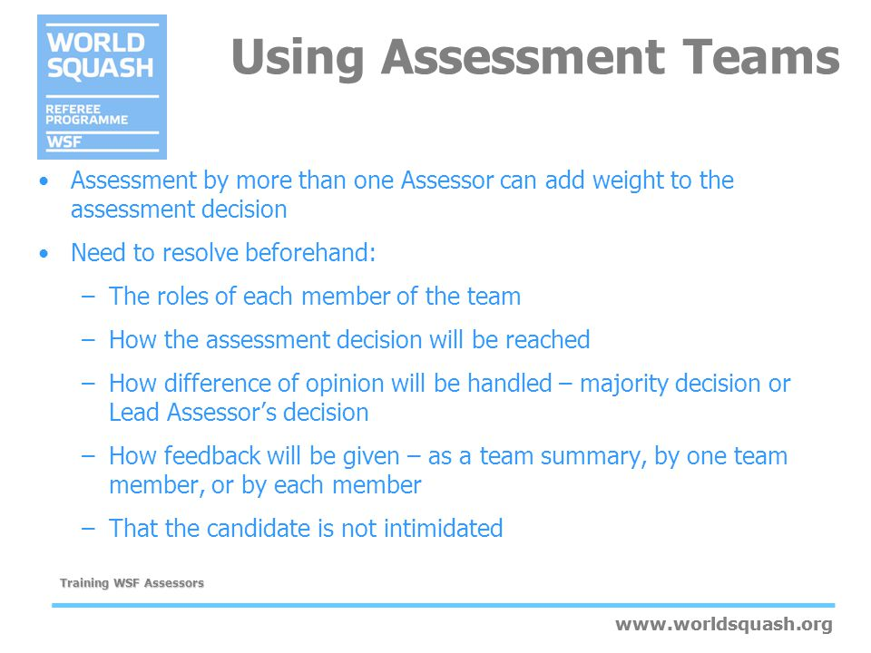 Using Assessment Teams