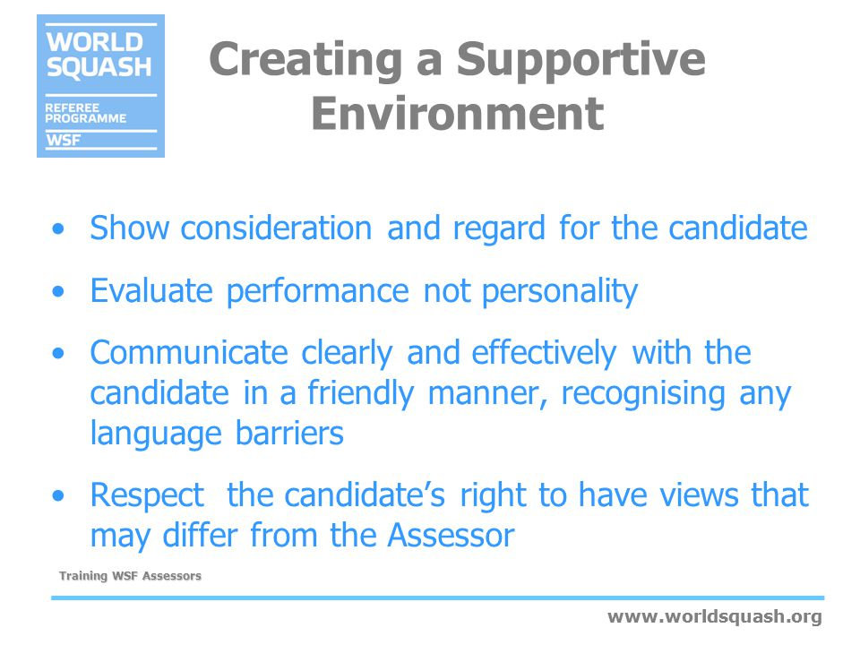 Creating a Supportive Environment