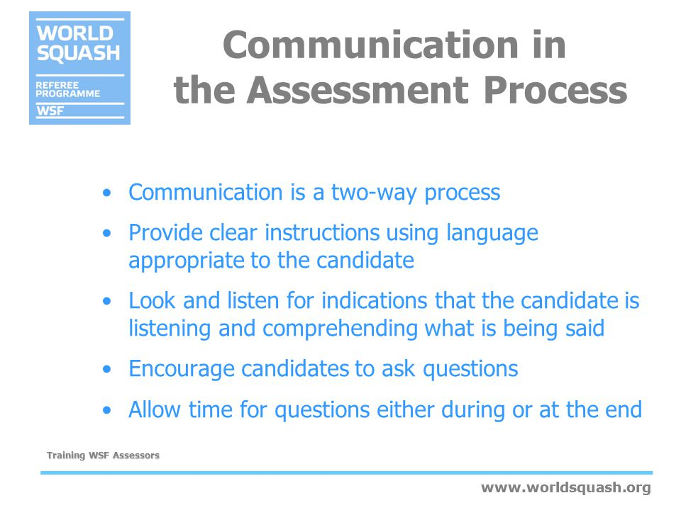 Communication in the Assessment Process