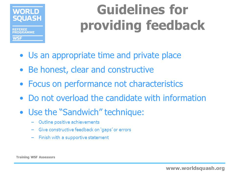 Guidelines for providing feedback