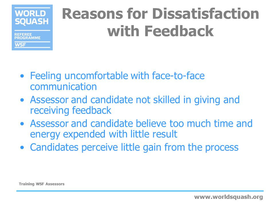 Reasons for Dissatisfaction with Feedback