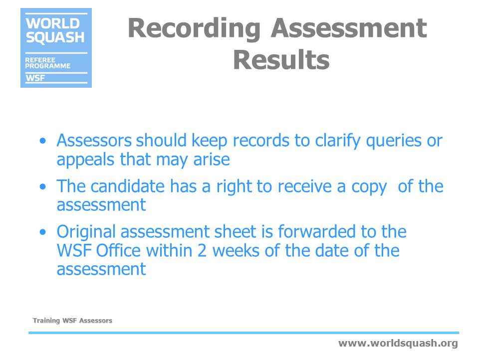 Recording Assessment Results