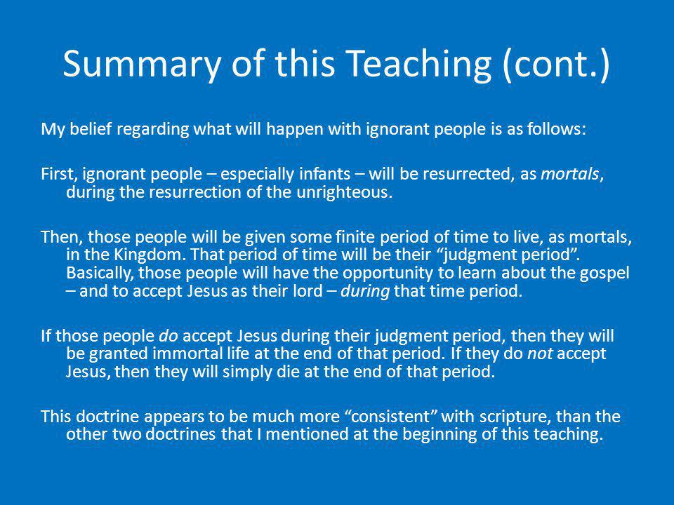 Summary of this Teaching (cont.)