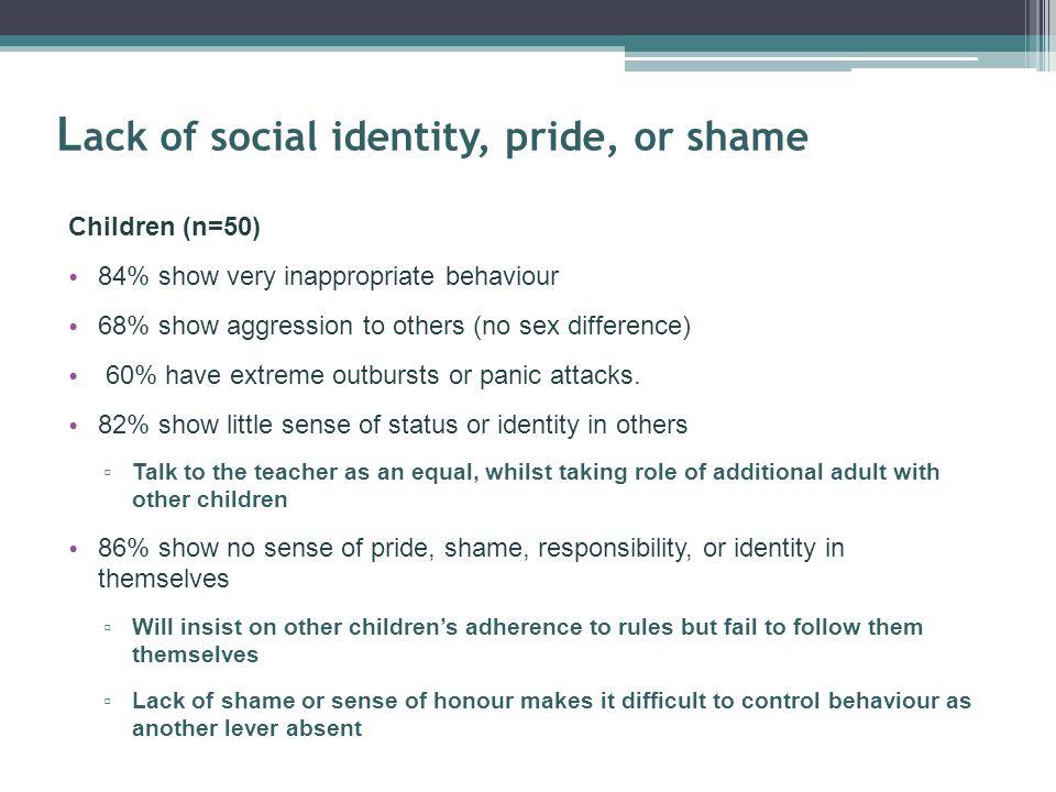 Lack of social identity, pride, or shame