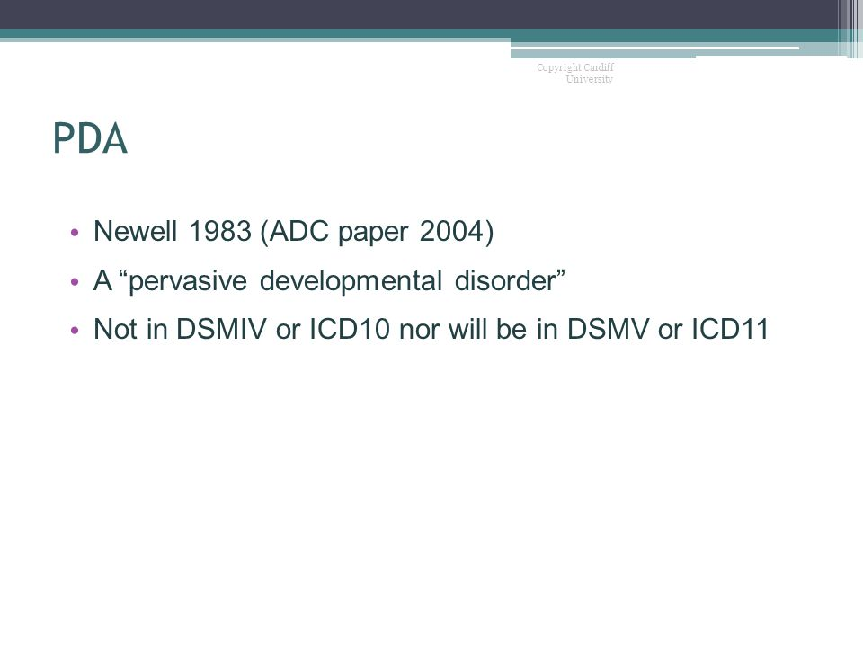 PDA Newell 1983 (ADC paper 2004) A pervasive developmental disorder