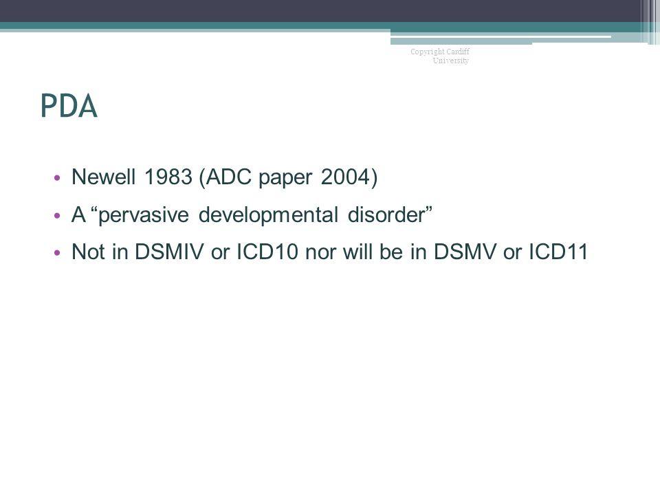 PDA Newell 1983 (ADC paper 2004) A pervasive developmental disorder
