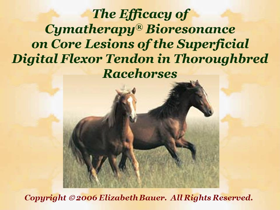 The Efficacy of Cymatherapy® Bioresonance