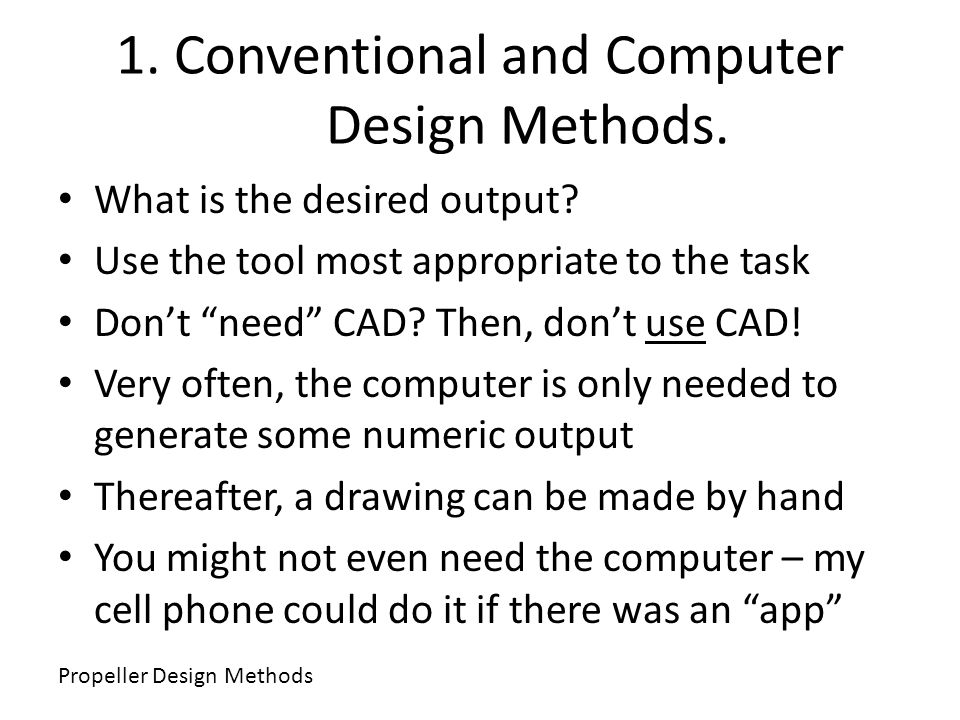 1. Conventional and Computer Design Methods.