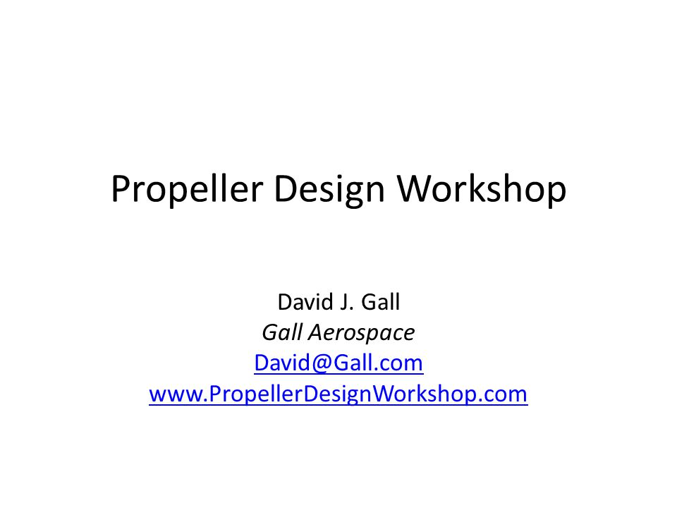 Propeller Design Workshop