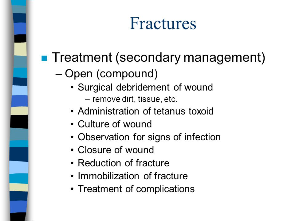Fractures Treatment (secondary management) Open (compound)