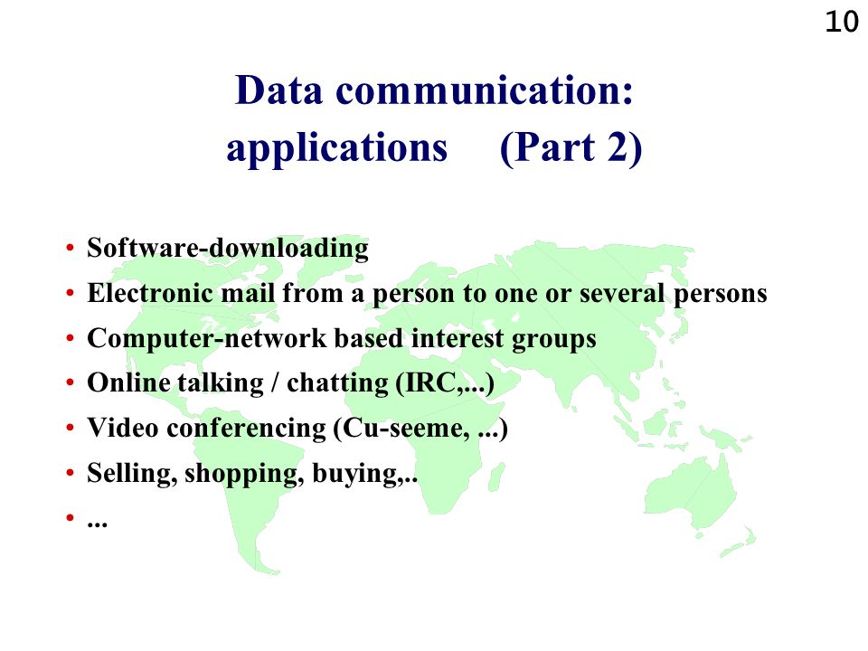 Data communication: applications (Part 2)