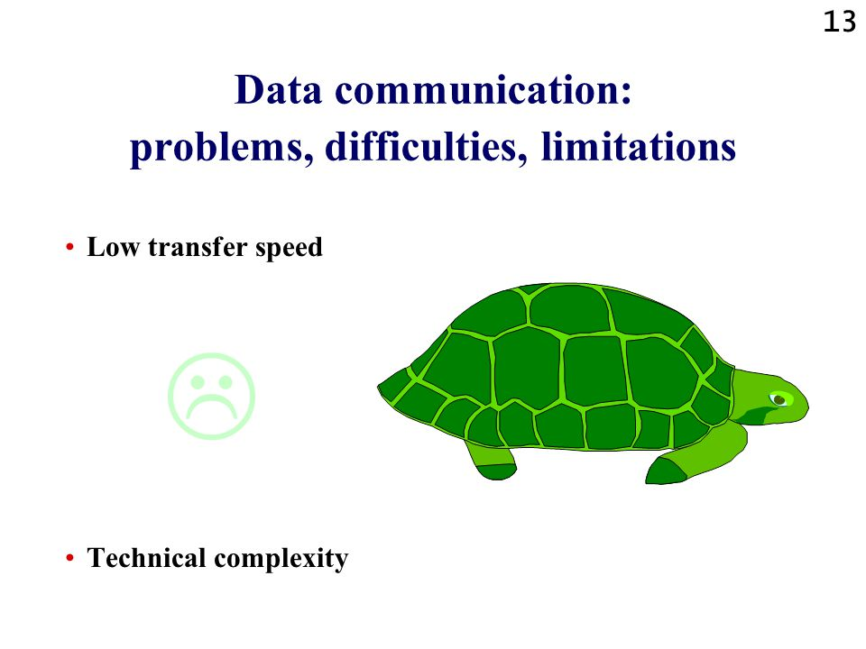 Data communication: problems, difficulties, limitations