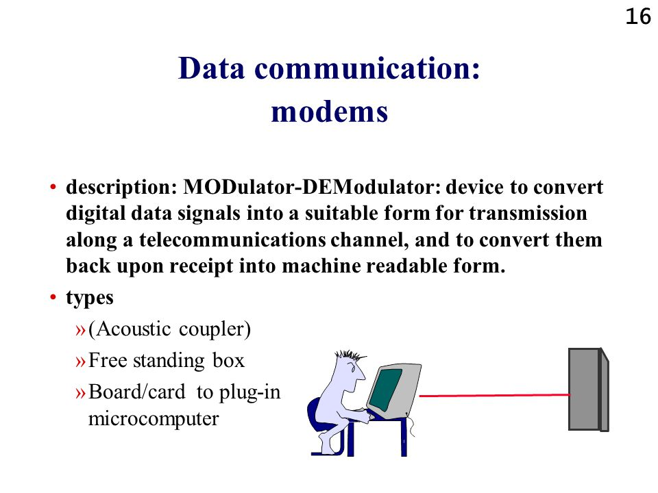 Data communication: modems