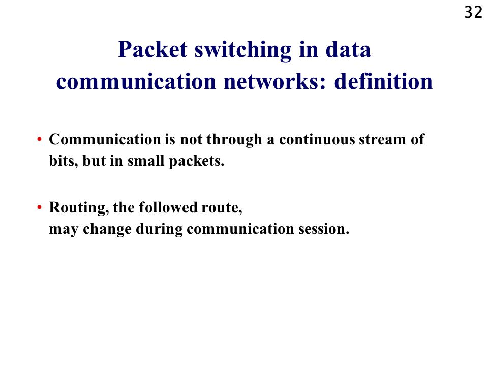 Packet switching in data communication networks: definition