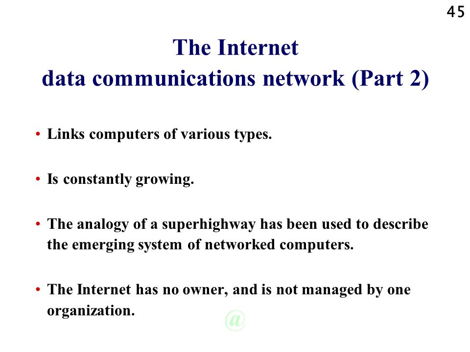 The Internet data communications network (Part 2)