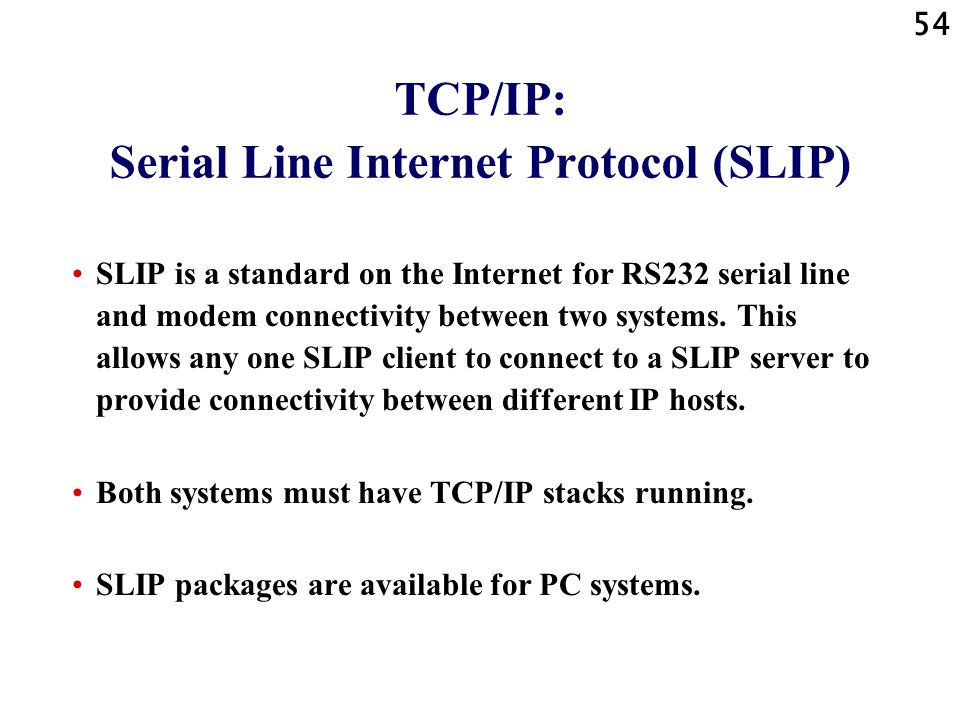 TCP/IP: Serial Line Internet Protocol (SLIP)