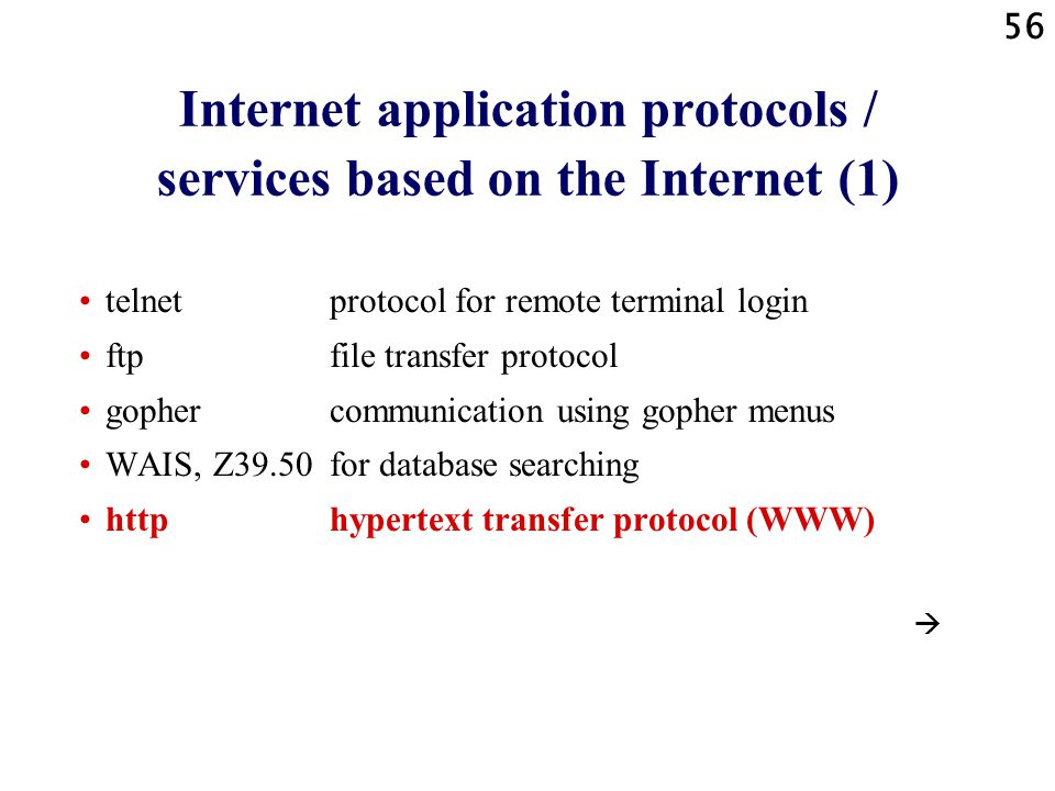 Internet application protocols / services based on the Internet (1)