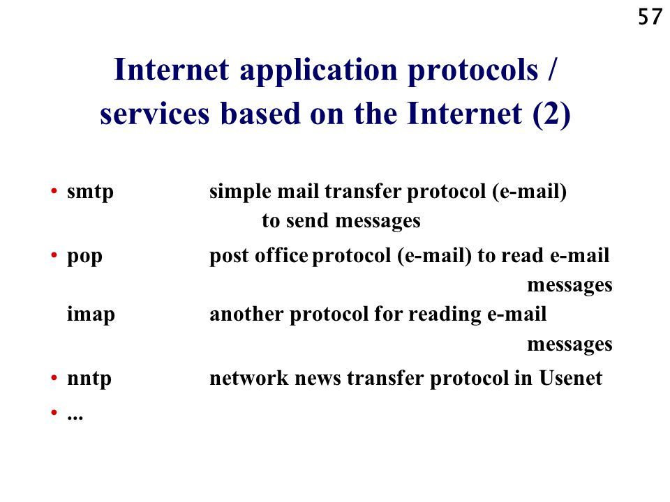 Internet application protocols / services based on the Internet (2)