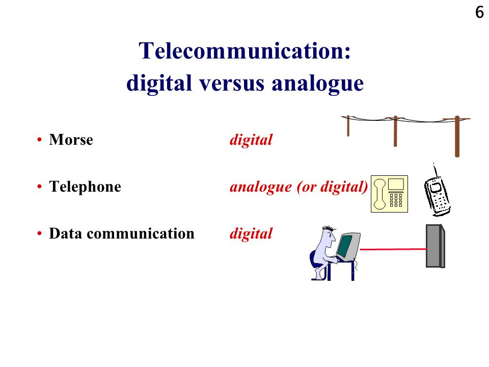 Telecommunication: digital versus analogue