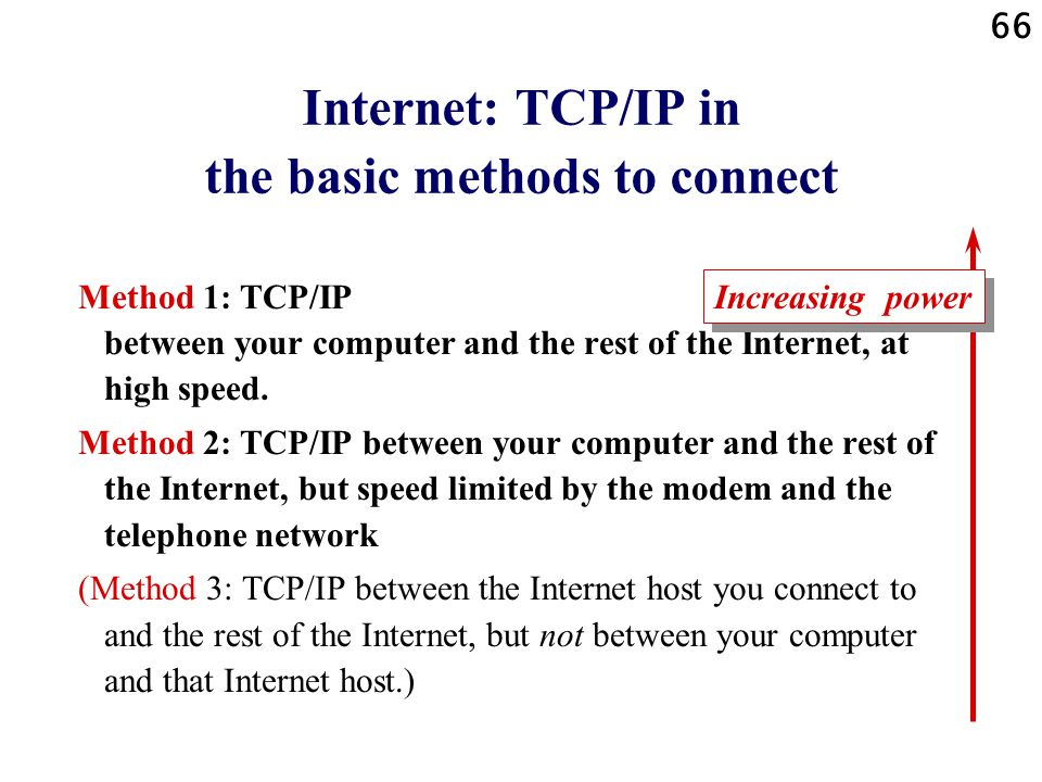 Internet: TCP/IP in the basic methods to connect