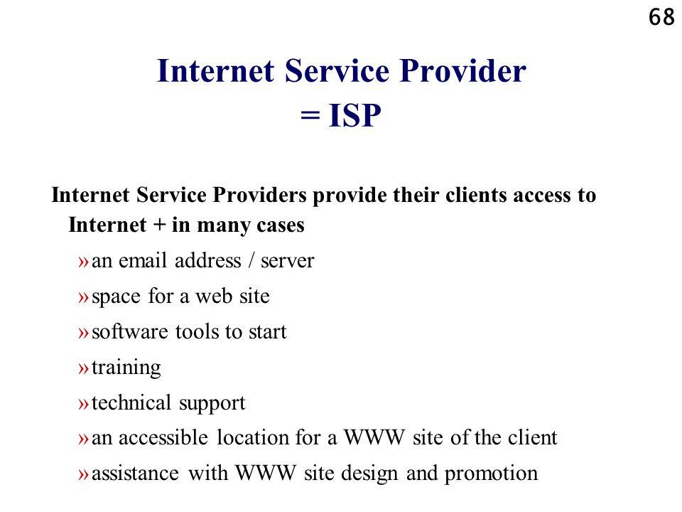 Internet Service Provider = ISP