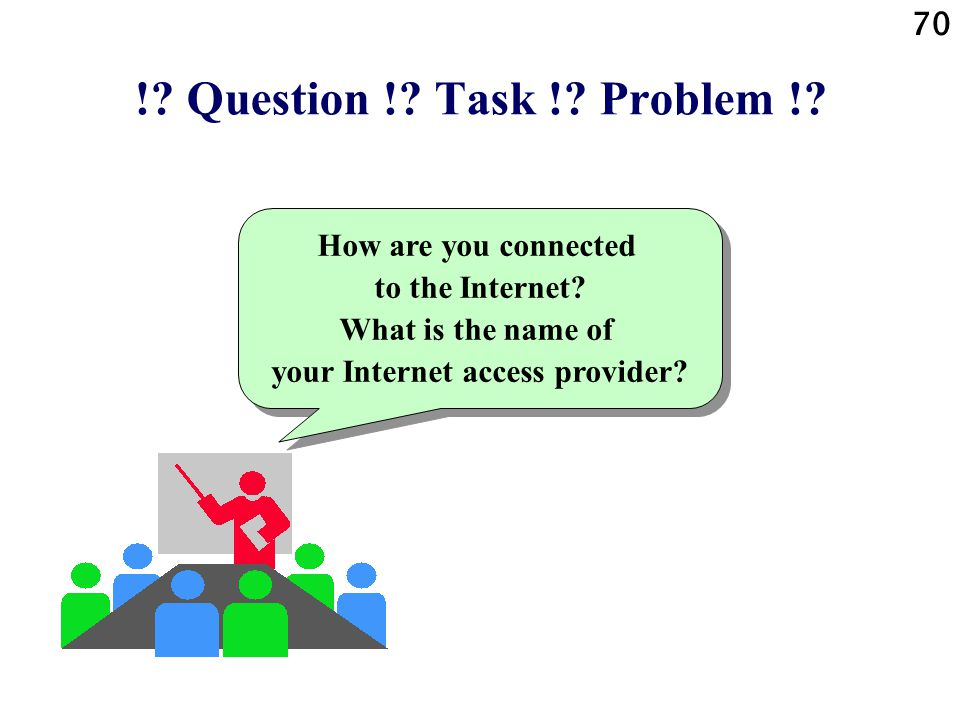 !. Question !. Task !. Problem !. How are you connected to the Internet.