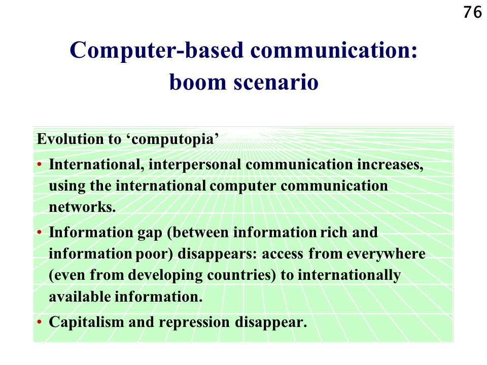 Computer-based communication: boom scenario