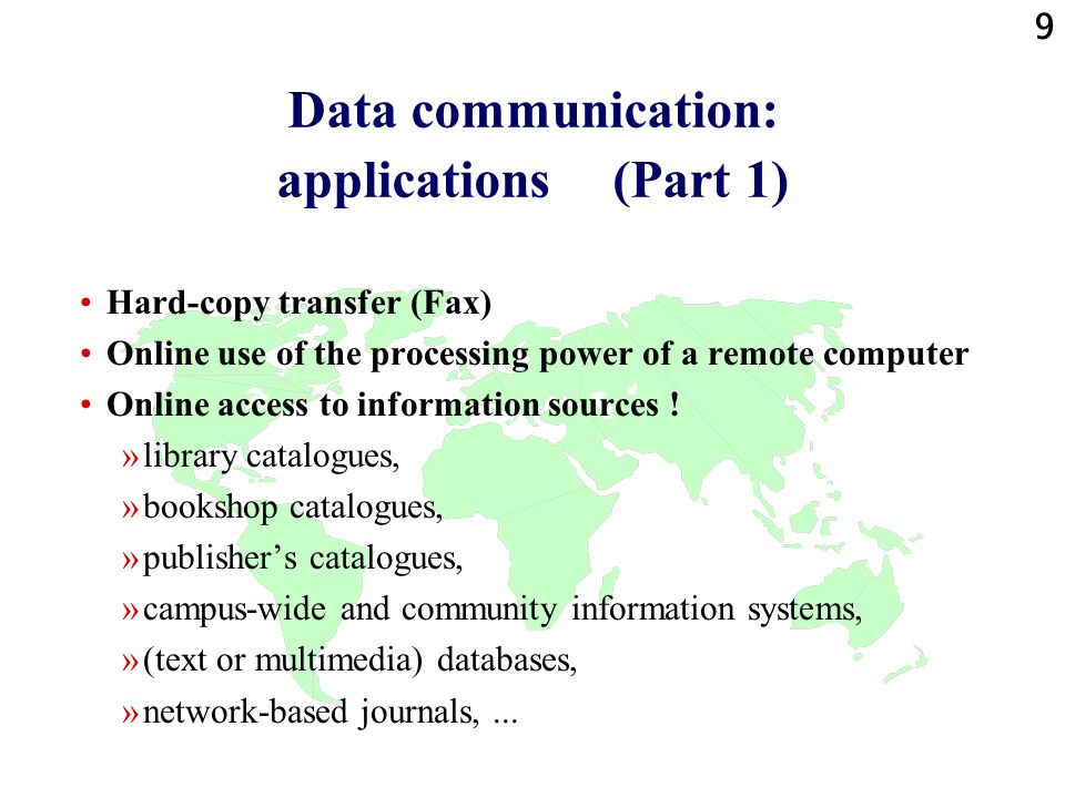Data communication: applications (Part 1)