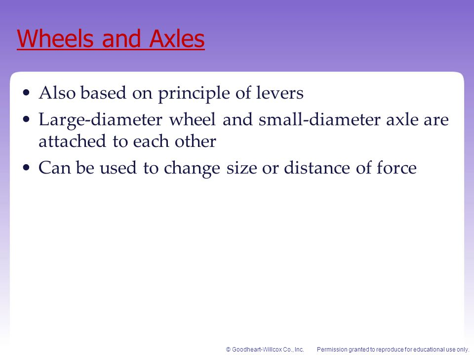 Wheels and Axles Also based on principle of levers