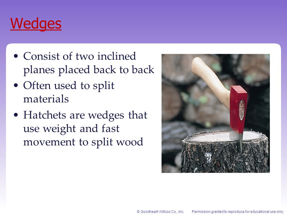 Wedges Consist of two inclined planes placed back to back
