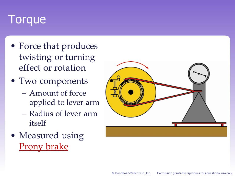 Torque Force that produces twisting or turning effect or rotation