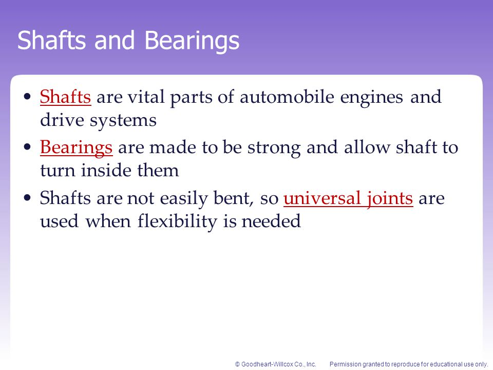 Shafts and Bearings Shafts are vital parts of automobile engines and drive systems.